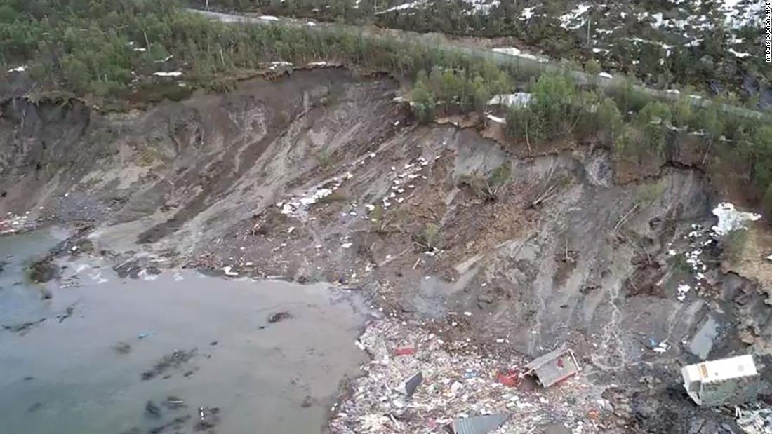 Houses swept away in powerful landslide in Norway
