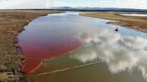 A large diesel spill in the Ambarnaya River, outside the Russian city of Norilsk, on Wednesday.