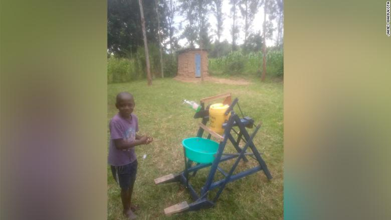 Stephen Wamukota's machine has two pedals to release soap and water