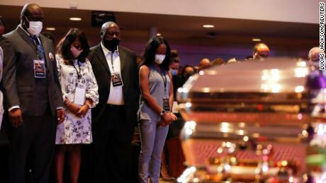 Family members of George Floyd attend a memorial service for George Floyd following his death in Minneapolis police custody, in Minneapolis, Minnesota, U.S., June 4, 2020. REUTERS/Lucas Jackson