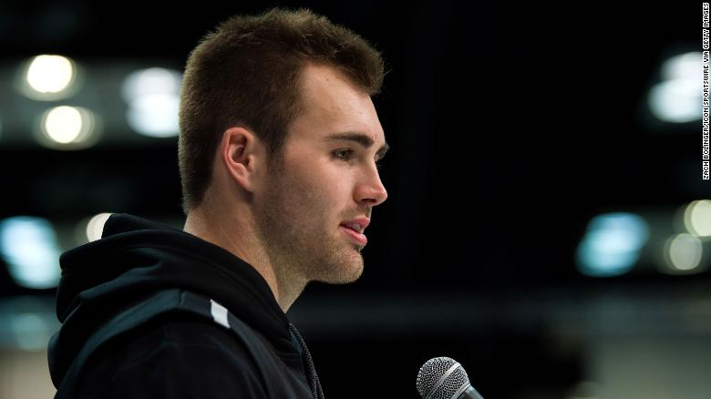 Georgia quarterback Jake Fromm answers questions from the media during the NFL Scouting Combine on February 25, 2020 at the Indiana Convention Center in Indianapolis, IN.