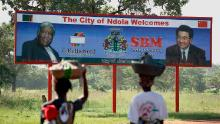 A sign welcomes Chinese Premier  Hu Jintao to Ndola on March 25, 2007 in Zambia.  Hu  visited Africa in early 2007 and also Zambia.