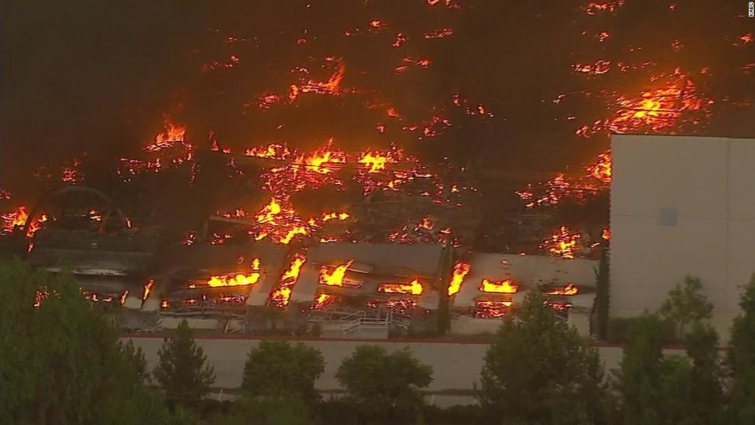 Fire tears through Amazon distribution center