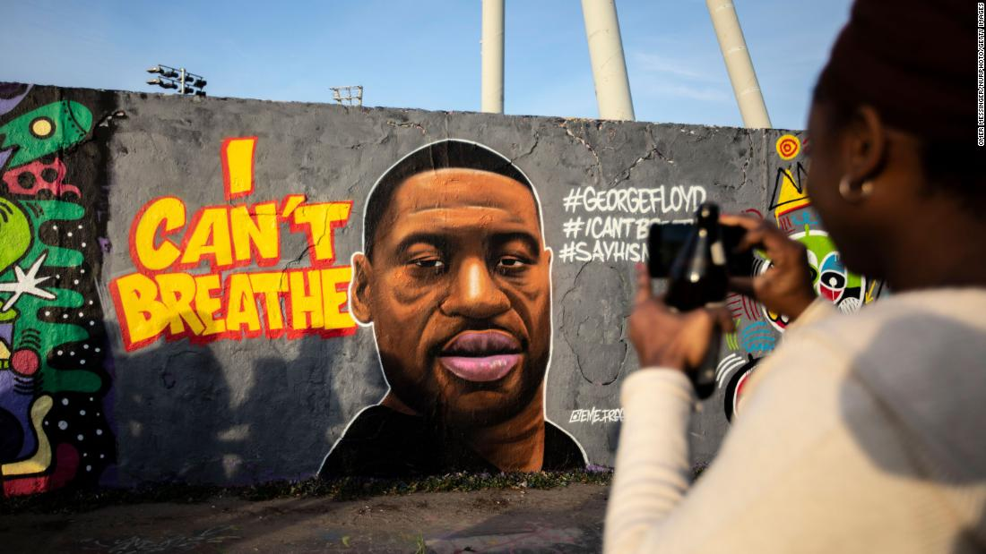 A mural of George Floyd painted by the artist eme_freethinker on a wall at Mauerpark in Berlin, Germany, May 30, 2020. The 46-year-old African-American, died on May 25, 2020 after a Minneapolis police officer, was kneeling on Floyd's neck for several minutes during his arrest. The controversial act of police brutality sparked violent demonstrations throughout the U.S with reports of riots in Minnesota, California, New-York and more. Reports also mention that Derek Chauvin, one of the police officers allegedly involved in the incident was arrested and will be charged with Third-degree murder.***ISRAEL OUT*** (Photo by Omer Messinger/NurPhoto via Getty Images)