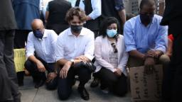 Justin Trudeau takes a knee at Black Lives Matter demonstration on Parliament Hill