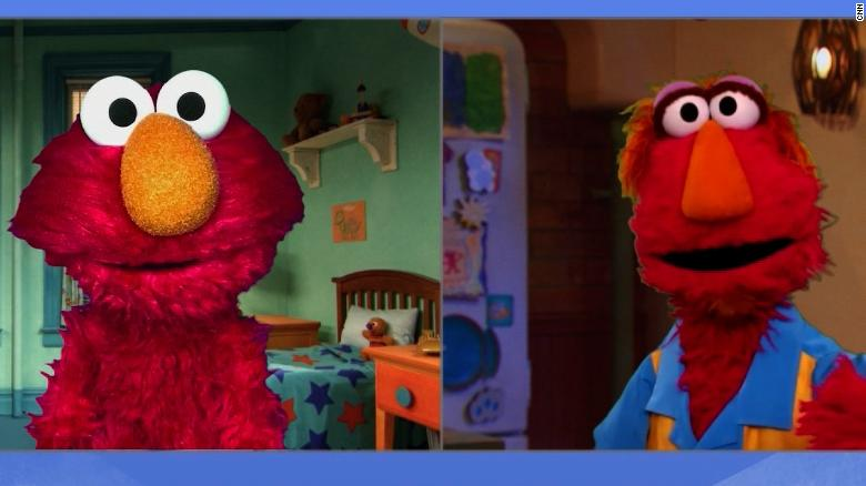 Elmo's father Louie, right, explains to Elmo what racism is and why people are protesting now.
