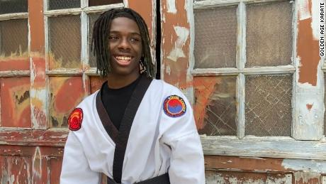 15-year-old Jeffery Wall is black belt in Tang Soo Do, a Korean martial art. He films video on YouTube to keep senior citizens active.