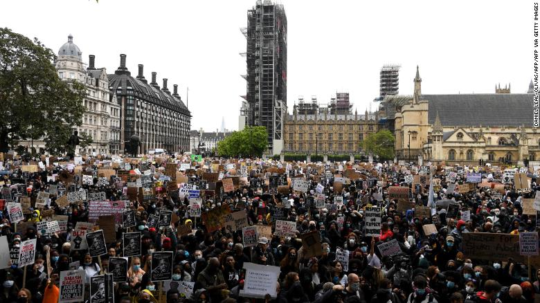 Protesters outside Parliament in London on Saturday.