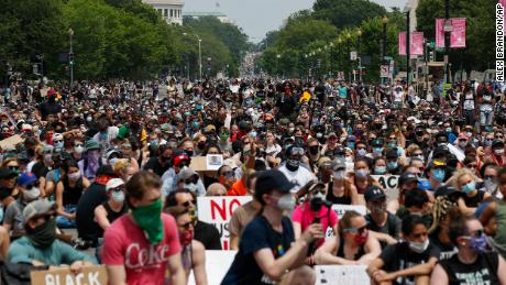 Tens of thousands march in largest George Floyd protests so far in the US