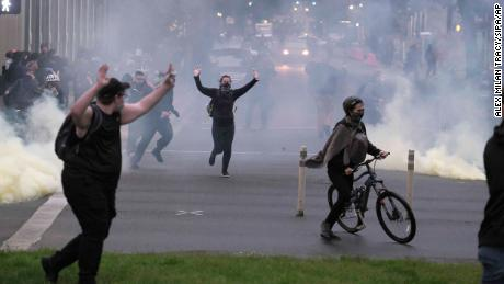 Police in Portland used tear gas and flash bangs on May 30 to disperse protesters.