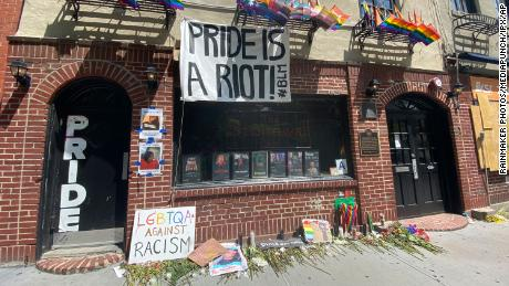 Historic Stonewall Inn Celebrates Pride and Honors Black Lives Matter in New York City on June 6, 2020.  Rainmaker Photos/MediaPunch/IPX