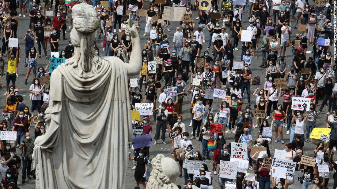 A general view of the Black Lives Matter protest, on June 07, 2020 in Rome, Italy. The death of George Floyd while in the custody of Minneapolis police has sparked protests and demonstrations of solidarity in many countries around the world.