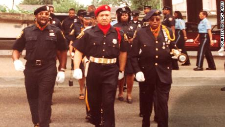 De Lacy Davis (center) marching with members of the Newark Police Dept.'s Honor Guard at the 1998 National Black Police Association's conference.