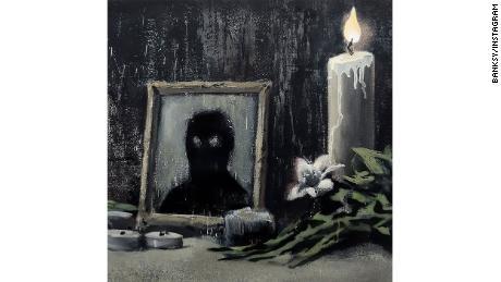 Un detaliu al noii lucrări a lui Banksy.