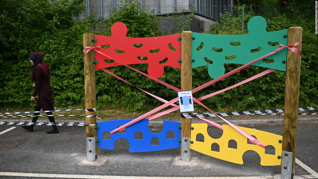Playground equipment is taped off June 4 to prevent its use at the Brambles Primary Academy in Huddersfield, England.