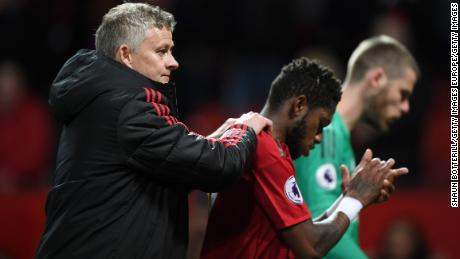 Solskjaer consults Fred after the Premier League match against Manchester City.