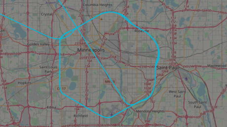 The May 29 track over Minneapolis of a Customs and Border Protection Predator B pilotless drone that normally flies along the US-Canada border. Map courtesy of adsbexchange.com.