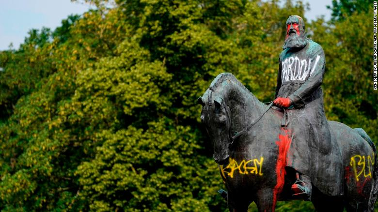 A statue of King Leopold II in Brussels, Brussels stands defaced on Wednesday, June 10.