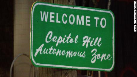 "A sign welcomes visitors to the so-called ""Capitol Hill Autonomous Zone"" on Wednesday."