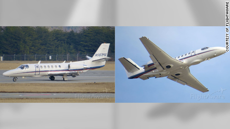 """A letter from members of Congress says this Cessna Citation that flew over Washington is typically """"equipped with 'dirtboxes,'"""" a type of technology that collects information from cell phones below."""