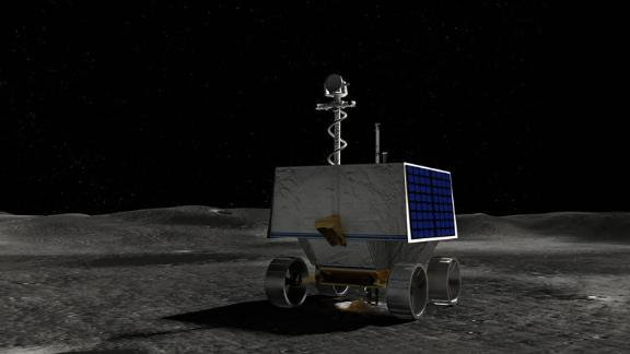 An illustration of NASA's Volatiles Investigating Polar Exploration Rover (VIPER) on the surface of the Moon.
