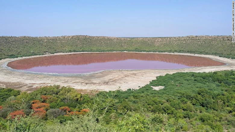 A general view of Lonar crater sanctuary lake is pictured in Buldhana district of Maharashtra state on Thursday.