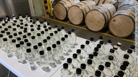 Rows of hand sanitizers produced during lockdown by a Brooklyn distillery which normally makes whiskey in New York City