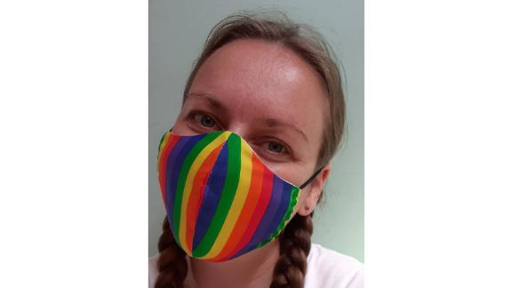 Charity Mask Triple Layer Cotton Homemade Rainbow Design