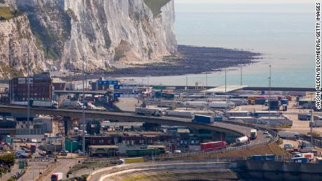 Trucks make their way through the Port of Dover in the United Kingdom.