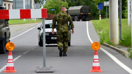 Soldiers patrol the Polish-Czech border during the coronavirus pandemic.