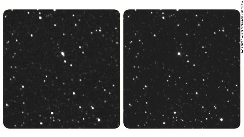 The New Horizons image of Proxima Centauri is on the left. If you have a stereo viewer, you can use it on this image. If not, look at the center of the image and let your focus shift to see the combined third image.