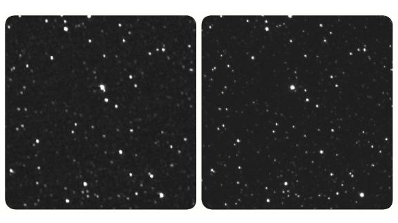 """Parallel Stereo of Proxima Centauri: Use a stereo viewer for these images; if you don't have a viewer, change your focus from the image by looking """"through"""" it (and the screen) and into the distance. This creates the effect of a third image in the middle, and try setting your focus on that third image. The New Horizons image is on the left."""