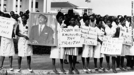 A group of women in Accra, Ghana, on February 17, 1961, mourning Patrice Lumumba, the former leader of the Congo who was assassinated with Belgian complicity.