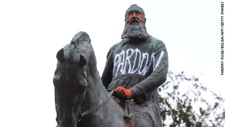 A vandalized statue of King Leopold II in Brussels on Wednesday.