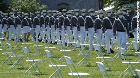 Cadets arrive for the 2020 graduation ceremony at West Point, New York, on June 13, 2020.