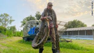 Mike Kimmel with the 17-foot python he caught draped around his neck.