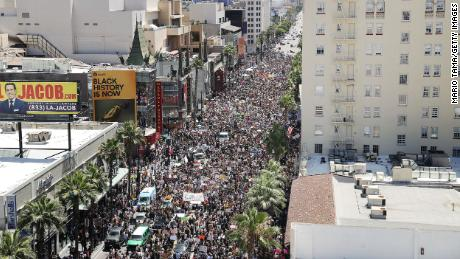 Protesters crowd Hollywood Boulevard during the All Black Lives Matter solidarity march, on June 14, 2020 in Los Angeles, California.