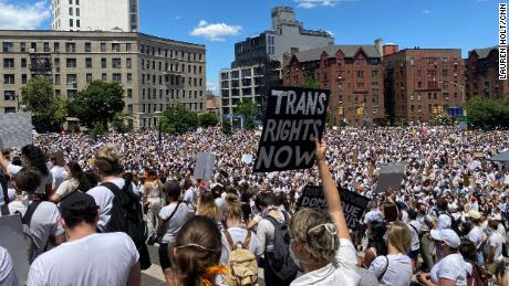 Thousands rallied outside Brooklyn Museum in New York to support trans rights on Sunday, June 14, 2020.