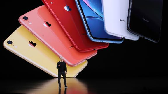 Apple CEO Tim Cook announces the new iPhone 11 as he delivers the keynote address during an event on September 10, 2019.