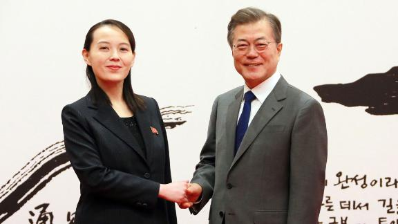 South Korean President Moon receives invitation from the North, Seoul, Korea - 10 Feb 2018 A photo released by the North Korean Central News Agency (KCNA), the state news agency of North Korea, shows South Korean President Moon Jae-in (R) shaking hands with North Korean leader Kim Jong-un's sister and special envoy Kim Yo-jong (L) during a meeting at the presidential office Cheong Wa Dae (Blue House) in Seoul, South Korea, 10 February 2018 (issued 11 February 2018). According to reports, North Korean leader Kim Jong-un invited Moon to visit North Korea at an early date.