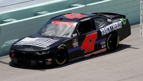Kyle Weatherman, driver of the #47 Back The Blue Chevrolet, races during the NASCAR Xfinity Series Contender Boats 250 at Homestead-Miami Speedway  in Homestead, Florida.