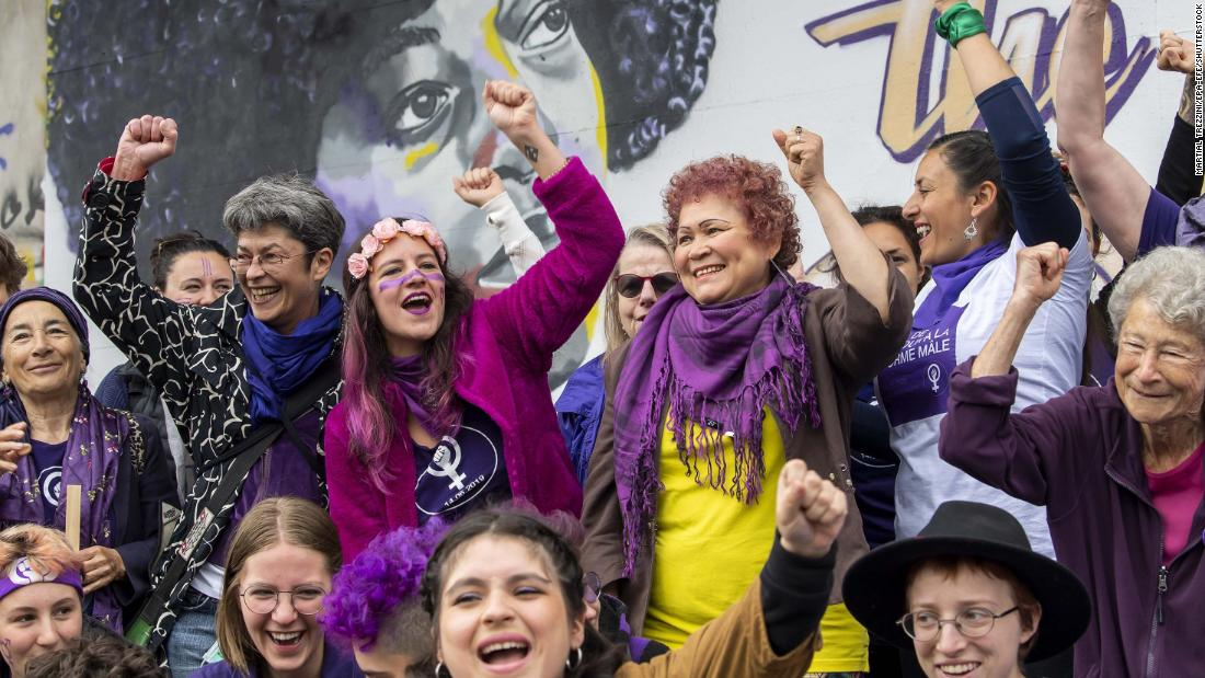 Mandatory Credit: Photo by MARTIAL TREZZINI/EPA-EFE/Shutterstock (10679573b) Members of the Geneva collective 'La Greve Feministe' pose in front of a fresco created by Amaelle Mischler, Nadia Seika and Catherine Grangier, on the occasion of Women's strike, in Geneva, Switzerland, 14 June 2020. The Feminist Strike of June 14th is being reorganized in Switzerland to respect the sanitary measures imposed by the pandemic. Women's strike in Switzerland, Geneve - 14 Jun 2020