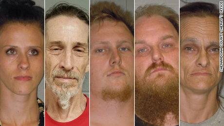 Amanda Salyers, Christopher Sharp, Dennis Salyers, Donny Salyers, and Farrah Salyers (left to right) were all arrested on hate crime and other charges after assaulting a black pastor in Edinburg, Virginia.