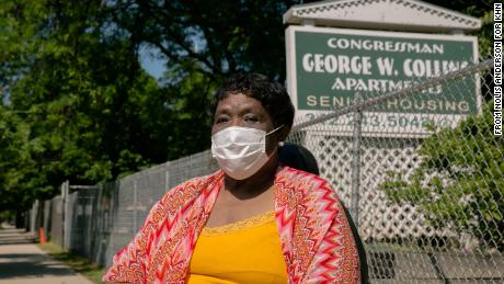 "Davetta Brooks lives in a building for low-income seniors on Chicago's Near West Side. Residents are not wearing masks or gloves to guard against the coronavirus, she said: ""They're touching everything on the elevator, in the laundry room. And anybody and everybody's relatives and friends are coming in and out with no scrutiny."""