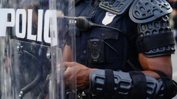 ATLANTA, GA - MAY 31: A police officer wearing a body cam is seen during a demonstration on May 31, 2020 in Atlanta, Georgia. Across the country, protests have erupted following the recent death of George Floyd while in police custody in Minneapolis, Minnesota. (Photo by Elijah Nouvelage/Getty Images)