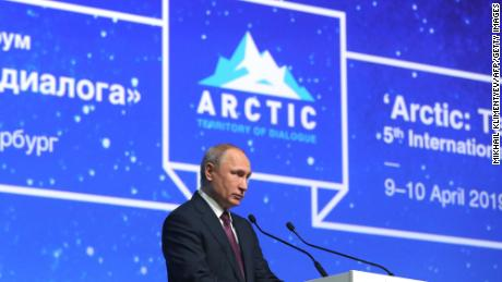 Russian President Vladimir Putin gives a speech during the International Arctic Forum in St. Petersburg on April 9, 2019.