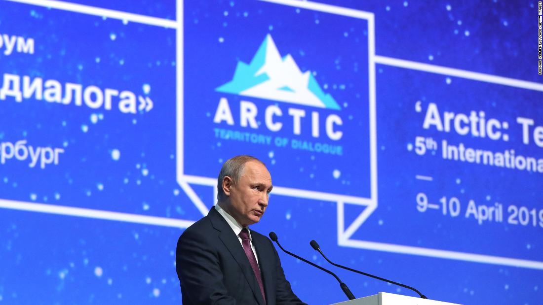 Russian President Vladimir Putin gives a speech during the International Arctic Forum in Saint Petersburg on April 9, 2019