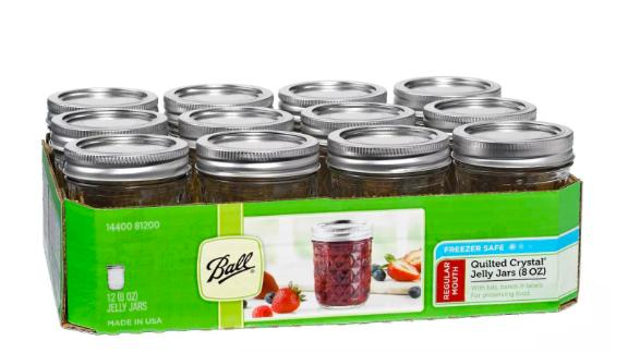 Ball Set of 12 Half Pint Quilted Mason Jars
