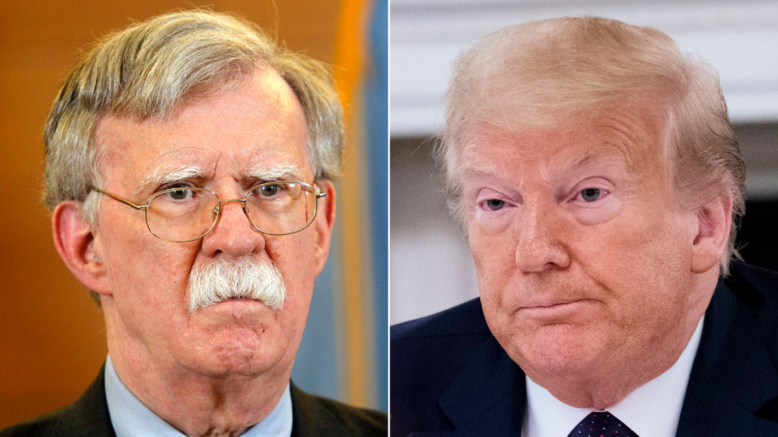 John Bolton, left, and Donald Trump SPLIT