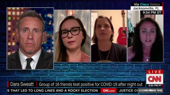 Erika Crisp was one of 16 friends who tested positive for coronavirus after one night out at a recently re-opened Florida bar, and she told Chris Cuomo that she now regrets her decision to go out that night.